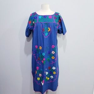 Vintage ethnic embroidered hippie boho dress